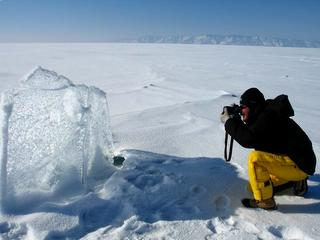 Ice shield of frozen Baikal lake