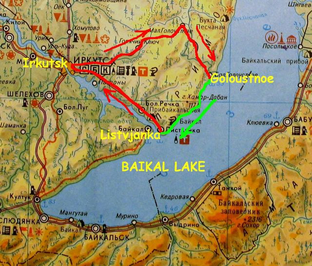 map of Classic Baikal trek trip