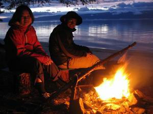 Evening campfire at the shore of Baikal Lake