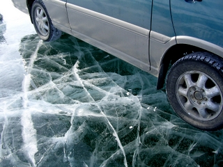 Driving on a crystal clear ice surface