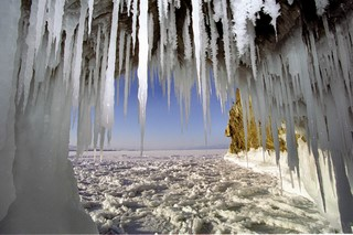 Ice caves and grottos at the north of Olkhon