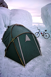 Camping on the ice of Lake Baikal