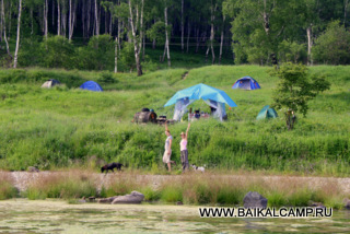 View from the water side on Baikal Camp