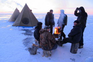 Tent capm on the ice of Lake Baikal